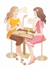 Two pretty girls  at a cafe