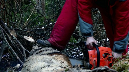 Woodcutter man at work in the winter forest