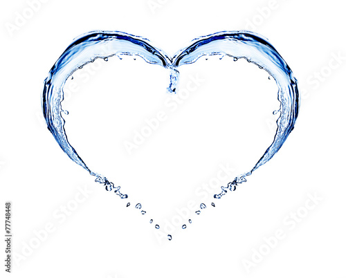 Leinwandbild Motiv Water splashing shaped as heart frame isolated on white