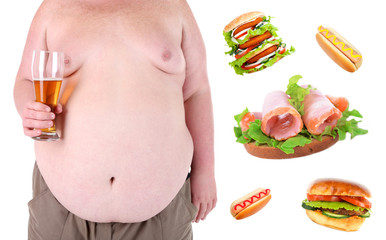 Health concept. Fat man and fastfood, isolated on white