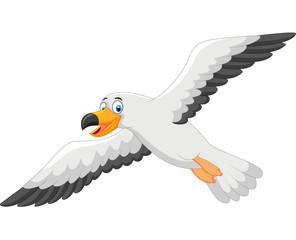 Cartoon smiling seagull