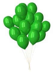 Many green glossy balloons
