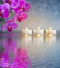 Japanischer ZEN Garten mit Kerzen und Wasser