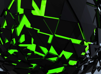 Green Sphere Shattered Abstract 3d isolated on background