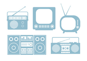 Audio and TV icons on white background