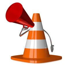 Traffic cone character with megaphone