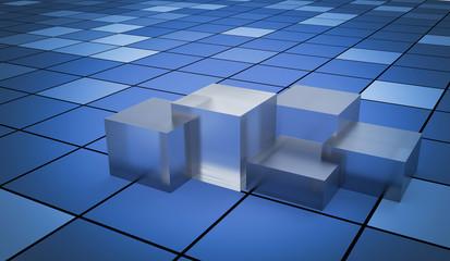 3d Blue Cubes