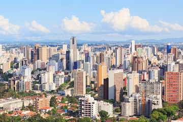 City center, buildings, hotels, Curitiba, Parana, Brazil