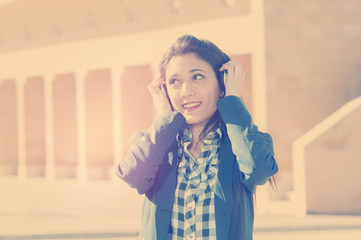 girl listening music applied filter instagram style and a flare