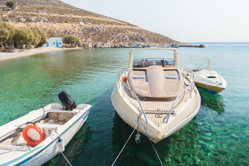 Cozy fishing sea harbor on Greek island Kalymnos