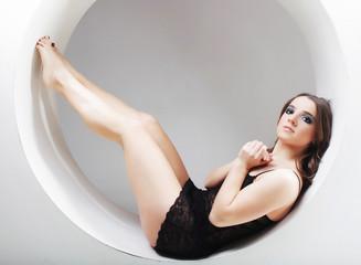 woman posing in circle