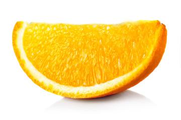 Ripe orange fruit's slice isolated on white