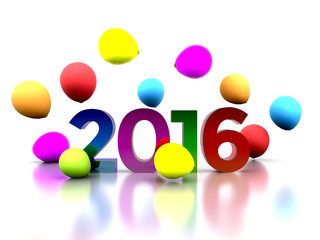3D illustration - we celebrate the New Year 2016