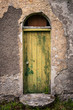 canvas print picture - door of old abandoned irish cottage
