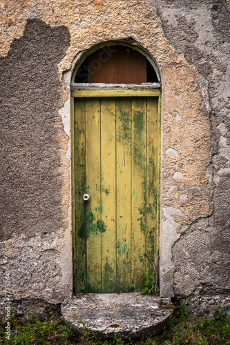 canvas print picture door of old abandoned irish cottage
