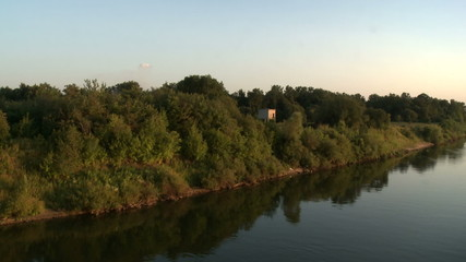 Top view of river shore during sunset