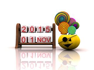 Date November 1, on Halloween with pumpkin