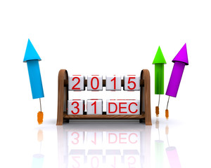 3D illustration - date, January 1, 2016, new year