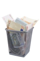 Euro banknotes in Refuse bin