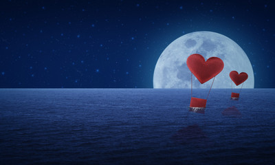 Red fabric heart air balloon on fantasy sea sky and moon,