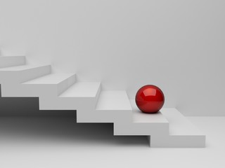 red sphere on white stairs. render