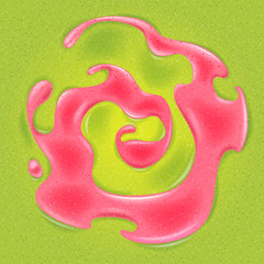 Swirl of strawberry red jam in green jelly.