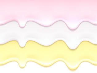 Flowing yogurt drips. Milk cream texture.