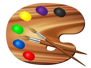 paint palette and brush