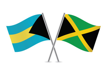 Bahamas and Jamaican flags. Vector illustration.