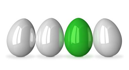 Green egg among white ones
