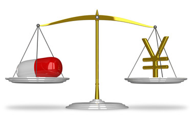 Pill and yuan sign on scales