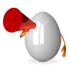 White egg character with megaphone