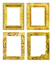 Set 4 antique golden frame isolated on white background, clippin