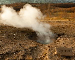geothermal area geysir in iceland
