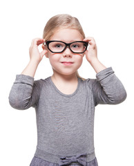 Beautiful little girl in glasses isolated