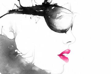 woman in glasses. art portrait .fashion background