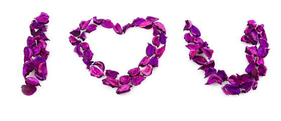 I love you phrase made from rose petals