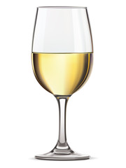 Glass of white wine, isolated. Vector illustration