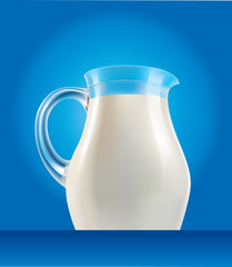 fresh milk in jug on blue background