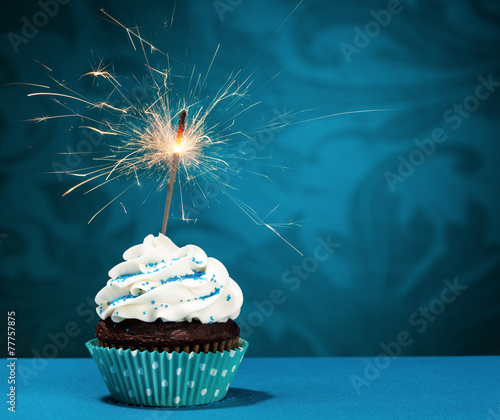 Canvas Dessert Birthday Sparkler Cupcake