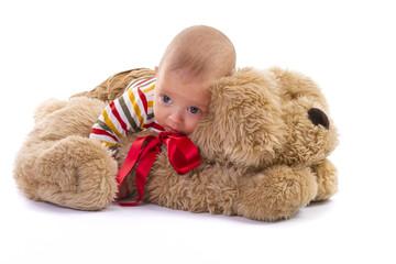 Baby boy over plush dog on white background