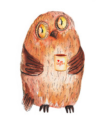 Owl with cup of coffee. Watercolor Hand drawing.