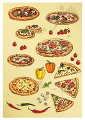 hand drawing set of pizza