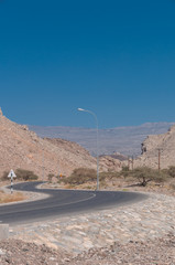 Image of a road on mountain Jebel Akhdar in Oman