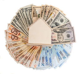 dollar ,euro and a wooden house model