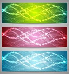 Shiny iridescent banners design
