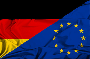 Waving flag of European Union and Germany