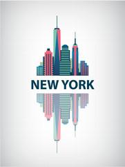 New York city architecture retro vector illustration, skyline
