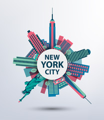 New York city architecture retro vector illustration, skyline
