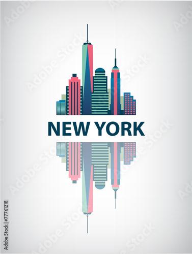 New York city architecture retro vector illustration, skyline - 77761218